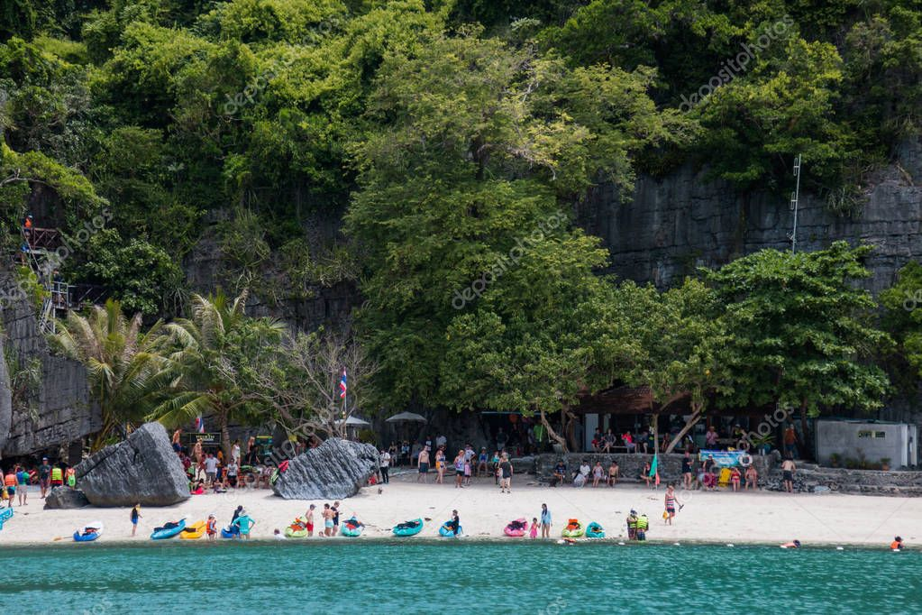 Surat Thai, Thailand - Jun 24 ,2017 : Tourists enjoying a beautiful beach in Angthong National Park at Koh Samui, Thailand.