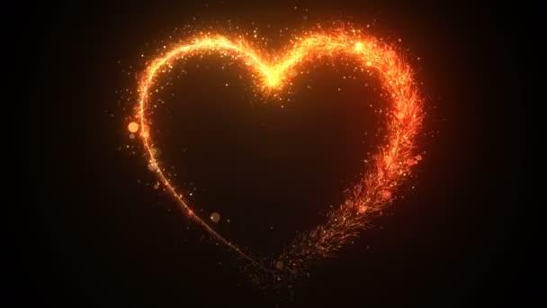 Draws a heart shape, festive effect with orange sequins