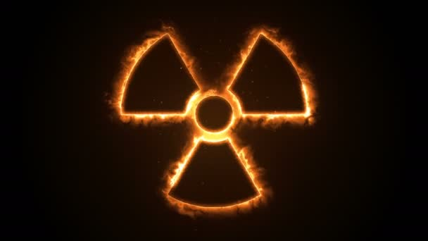 Seamless animation of fire or flow energy from nuclear and biohazard symbols.