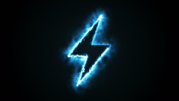 Burning blue flame lightning shape on black background, seamless animation