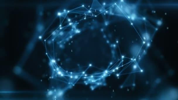 binärer Code fliegt in einem abstrakten technologischen Tunnel mit geometrischer Oberfläche
