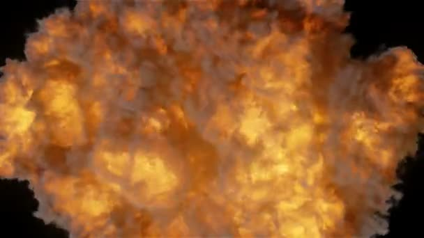 Highly realistic fire explosion with smoke top view