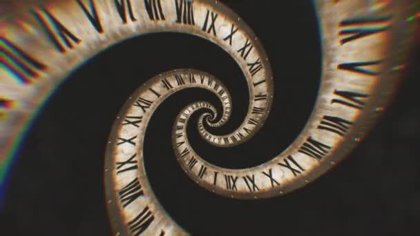 Rotace spirály hodiny římské číslice abstraktní plynulé animace