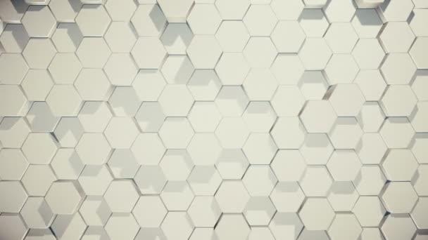 abstrakter Schleifenhintergrund beweglicher Sechsecke in zufälliger Reihenfolge