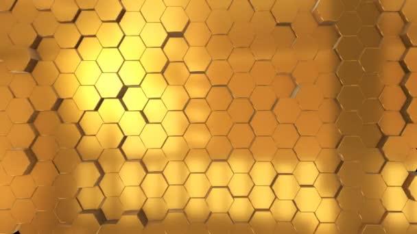 abstrakte nahtlose Schleifen-Animation Hintergrund aus glänzenden goldenen Sechsecken