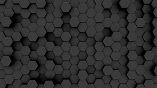 abstrakter grauer Hintergrund bewegter Primitiven mit sechs Winkeln, Sechsecke in dunkelgrau
