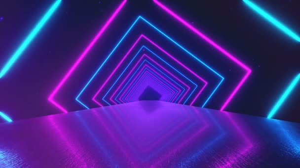 Abstract motion geometric background, glowing neon squares ...
