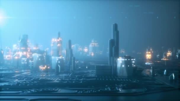 Moderní budovy. Modrá barva 3d animace. Konstrukce a technologie koncepce