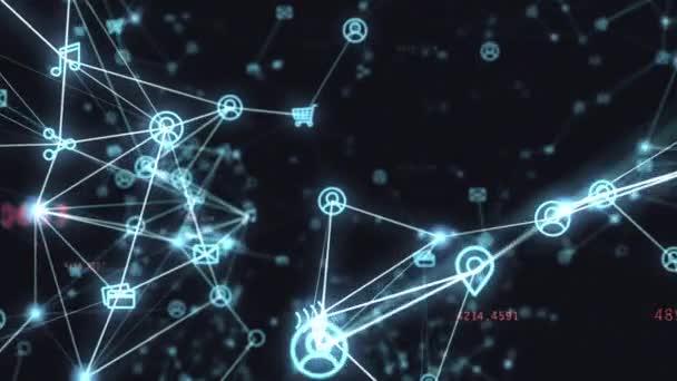 Pozadí náhodně pohyblivých sítí a internet související věci. Online nakupování, sociální sítě, připojení, globální spojení. Bezešvá smyčka 4k animaci