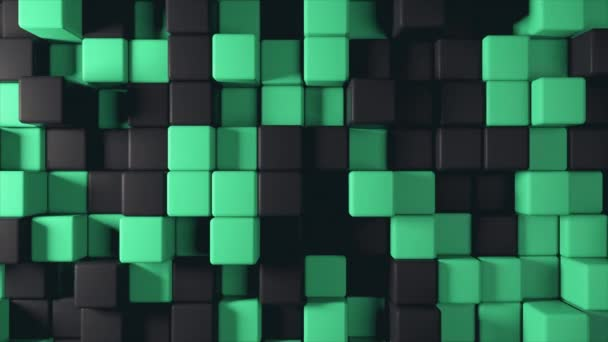Abstract 3d animation of the movement of two-color cubes green and black, seamless loop 4k background