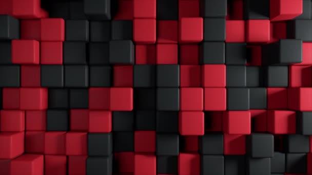 Absztrakt 3D-s animáció a mozgása a kocka két színű piros és fekete, varrat nélküli hurok 4 k háttér
