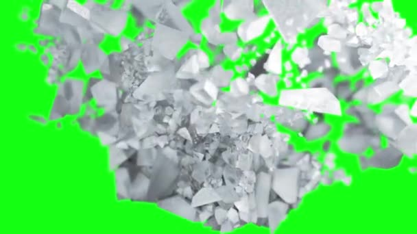 Ice cube explosion in slow motion cg 3d animation, green screen background