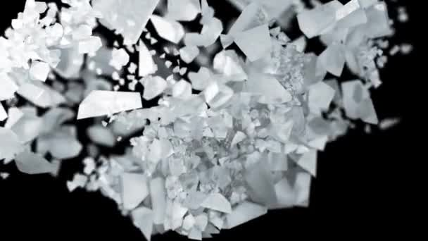Ice cube explosion in slow motion cg 3d animation on black isolated background