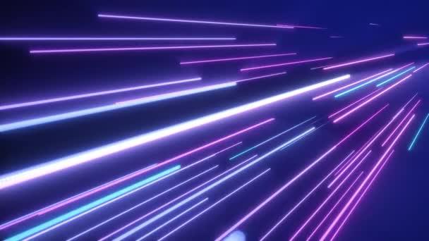 neonrosa blaue Lichtstreifen. nahtlose Schleife 4k abstrakten Bewegungshintergrund. fluoreszierendes ultraviolettes Licht, Laser-Neon-Linien.