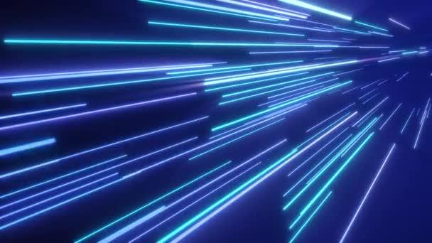 Neonové růžové světelné pruhy. Bezproblémové vedení 4k abstraktní pohybové pozadí. Fluorescenční ultrafialové světlo, laserové neonové čáry.