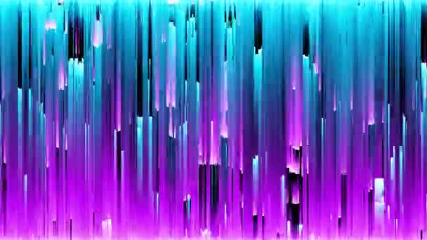 Abstract seamless loop animation of pixel sorting pattern glitch effect. Use in music video, transitions, broadcast, Fluorescent ultraviolet light, laser neon lines. Blue pink spectrum