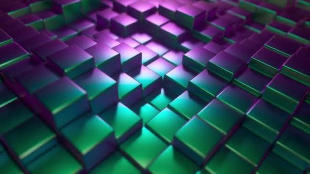 Absztrakt háttere fém fényes kocka. Modern divatvilágítás. Varrás nélküli hurok 4k élénkség