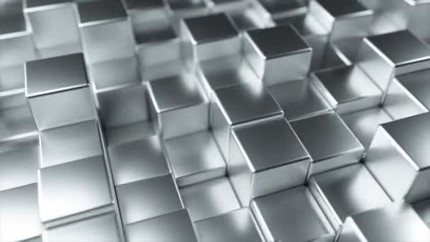 abstrakter Hintergrund von Metallwürfeln, die sich zufällig bewegen. nahtlose 4k-Animation in Schleife