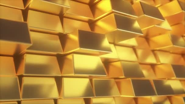 Beautiful abstract gold bars. The golden wall of blocks is moving. Seamless loop 4k cg 3d animation