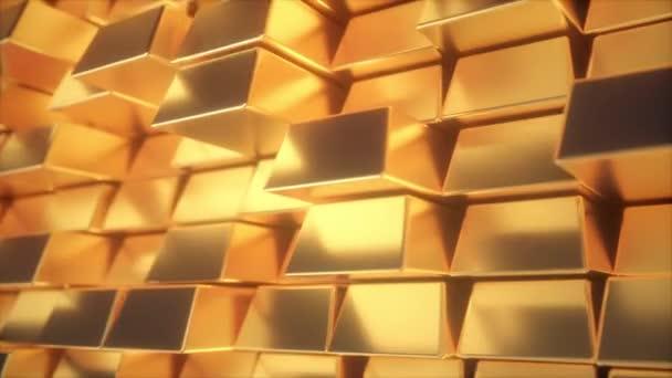 Překrásné abstraktní zlaté tyče. Zlatá stěna bloků se pohybuje. Bezešvá smyčka 4k CG 3D animace
