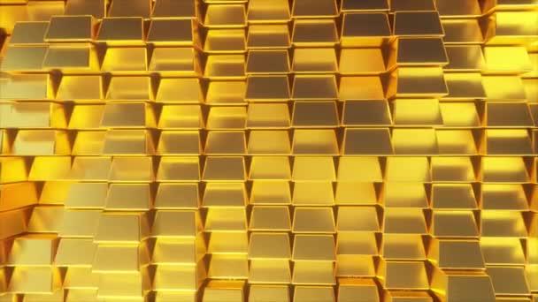 Gyönyörű absztrakt aranyrúd. Az arany faltömb mozog. Varrat nélküli 4k CG 3D animáció
