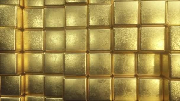 Překrásné abstraktní zlaté kostky. Zlatá stěna bloků se pohybuje. Bezešvá smyčka 4k CG 3D animace