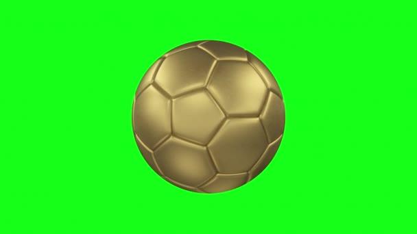 3D-s Render egy bronz labdát. Forgatható bronz futball labda a zöld képernyőn elszigetelt háttér. Chroma kulcs. Folytonos hurok animáció