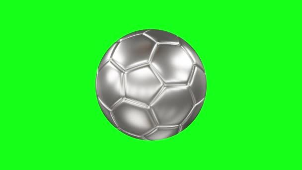 3D-s renderelés egy ezüst labdát. Forgatható ezüst futball labda a zöld képernyőn elszigetelt háttér. Chroma kulcs. Folytonos hurok animáció