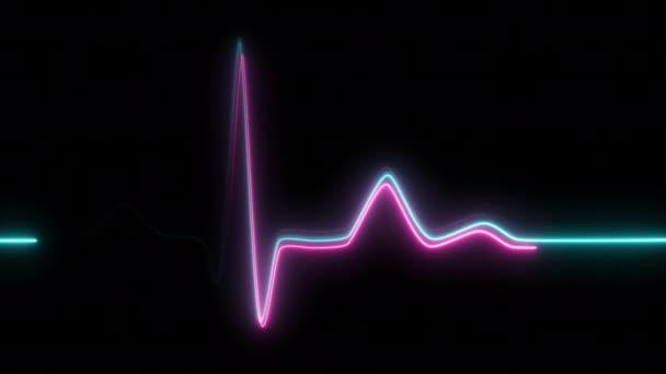 Neonový tep na černém izolovaném pozadí. 4k bezproblémová animace smyčky. Pozadí tep linka neon světlo tep displej obrazovka lékařský výzkum