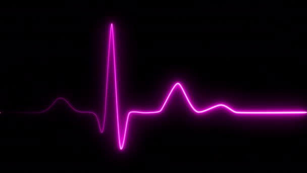 Neon Herzschlag auf schwarzem Hintergrund isoliert. 4k nahtlose Schleifenanimation. Hintergrund Herzschlaglinie Neon-Licht Herzfrequenzanzeige Bildschirm medizinische Forschung