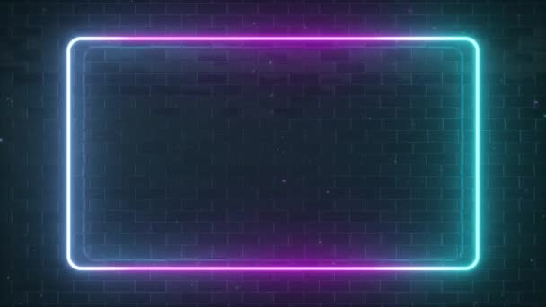 Pravoúhlá neonová světélkující forma na pozadí zrcadlovými plochami. Moderní ultrafialové fluorescenční spektrum. 3D vykreslení modrá fialová