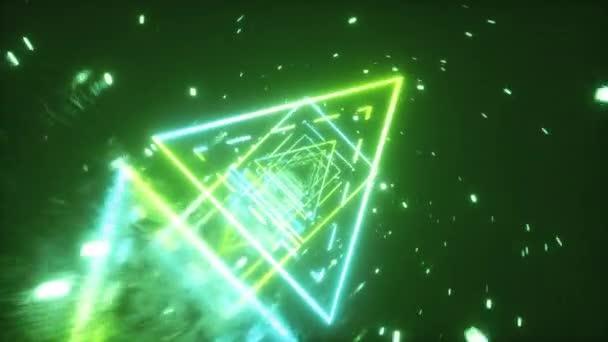 Crazy repülés egy retro futurisztikus teret keresztül neon izzó számok a stílus a 80-as években. 360 fokos kameraforgatás. Folytonos hurok 3D animáció