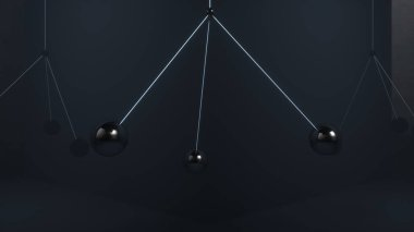 Metal balls swing in the air without colliding with each other. 3d illustration