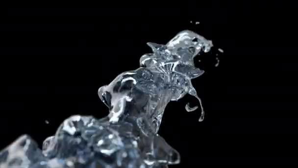 Vortice rotante di spruzzi dacqua di liquido su uno sfondo nero isolato con riflessi e torrente rotante, la superficie del liquido dalla natura cristallina dellacqua. rendering 3d