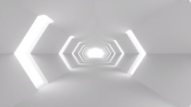 Létá v futuristickém bílým interiéru Sci-Fi. Sci-Fi koridor. Abstraktní moderní technologické zázemí. Bezešvá smyčka 4k 3D vykreslení animace