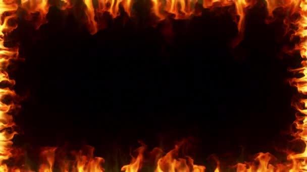 Tűz égett a lassított. A tüzes keret körülvevő képernyőn fekete elszigetelt háttér. Folytonos hurok 3D-renderelés