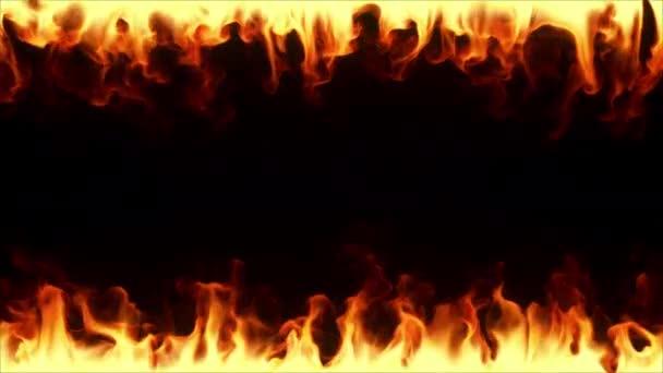 Oheň hoří pomalým pohybem. Ohnivý rám obklopující obrazovku zdola a nahoře na černém izolovaném pozadí. Plynulá smyčka 3D vykreslení