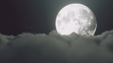 Beautiful realistic flight over cumulus lush clouds in the night moonlight. A large full moon shines brightly on a deep starry night. Cinematic scene. 3d illustration