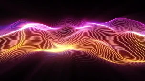 Abstraktní povrch vln. Velké množství částic. Futuristický neonový zářící povrch. Abstraktní pozadí pohybu. Bezešvé smyčka 3d vykreslení