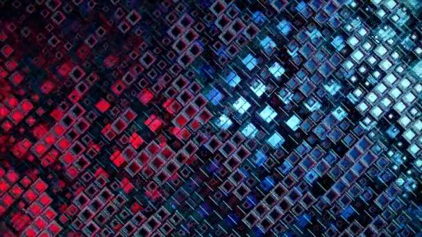 3D animace barevných skleněných řad kostek plovoucích profilem ve 4K, vytvářející abstraktní grafickou pozadí technologie textury. Bezešvé smyčky 3d vykreslení. Modrá červená barva