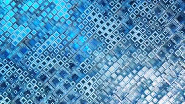 3D animace barevných skleněných řad kostek plovoucích profilem ve 4K, vytvářející abstraktní grafickou pozadí technologie textury. Bezešvé smyčky 3d vykreslení. Modrá barva