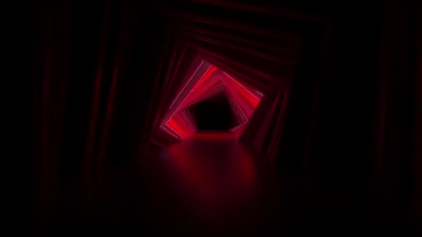 Absztrakt neon négyzetes alagút technológia. Végtelen örvénylő animált háttér. Modern neonfény. Ragyogó neonvonalak szikráznak és haladnak előre. Zökkenőmentes hurok 3d render