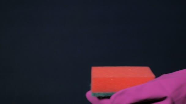 Szivacs a férfi kezében bíbor gumi kesztyű. Fehér hab vízcseppek ki a spray lehet.