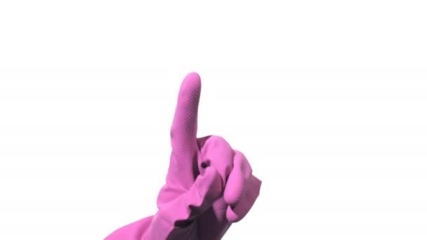 Hand mit lila Gummihandschuh zeigt auf weißem Hintergrund