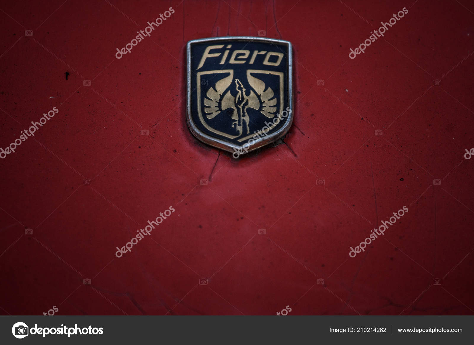 Belgrade Serbia August 2018 Close Rusted Fiero Logo Old Red Stock