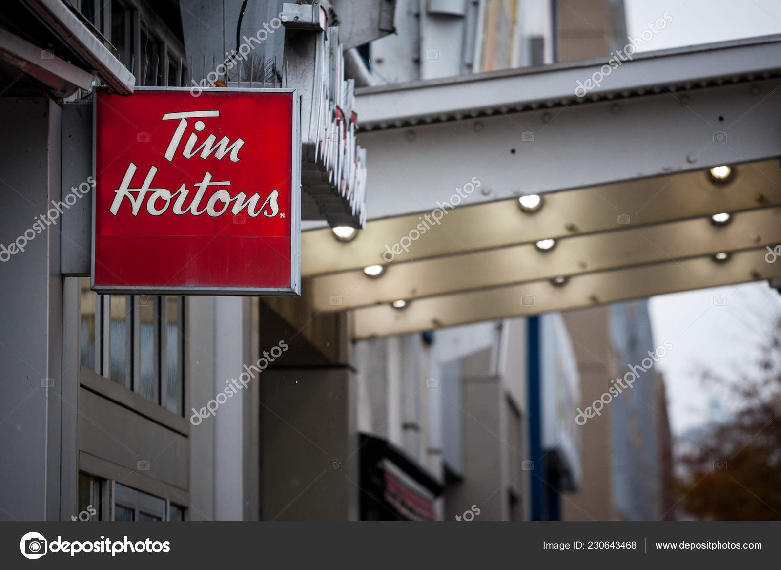 Montreal Canada November 2018 Tim Hortons Logo Front One