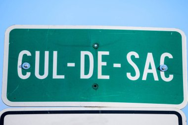 Cul de Sac Roadisign in the streets of Montreal, Quebec, Canada. A Cul de Sac, in French, is a Dead end, or impass, in an urban street or road