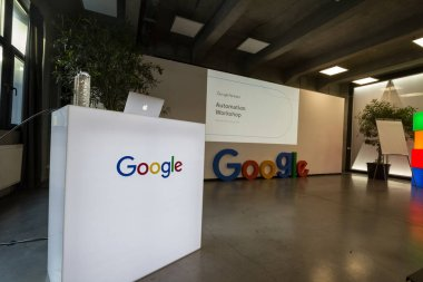 BUCHAREST, ROMANIA - FEBRUARY 12, 2020: Google Partners logo in front of a stand promoting Google Ads automation strategies, aimed at automating bidding on google adwords