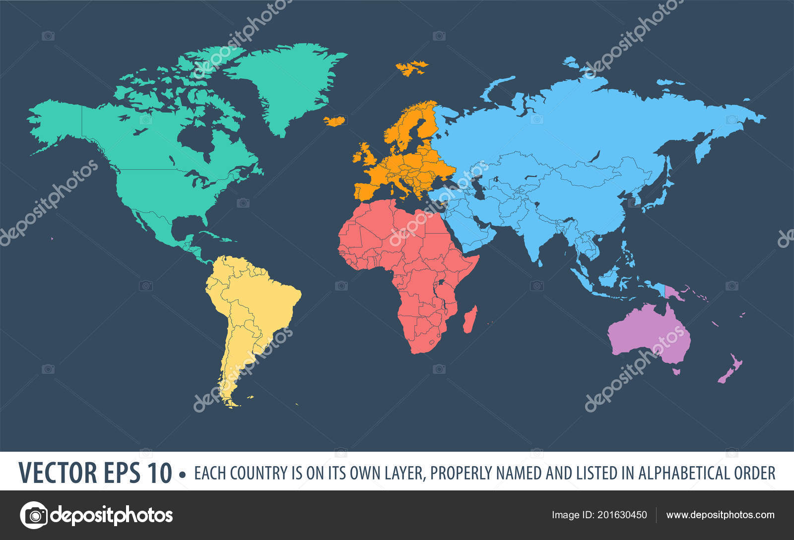 Political world map earth each continet highlighted different color political world map earth each continet highlighted different color stock vector gumiabroncs Gallery