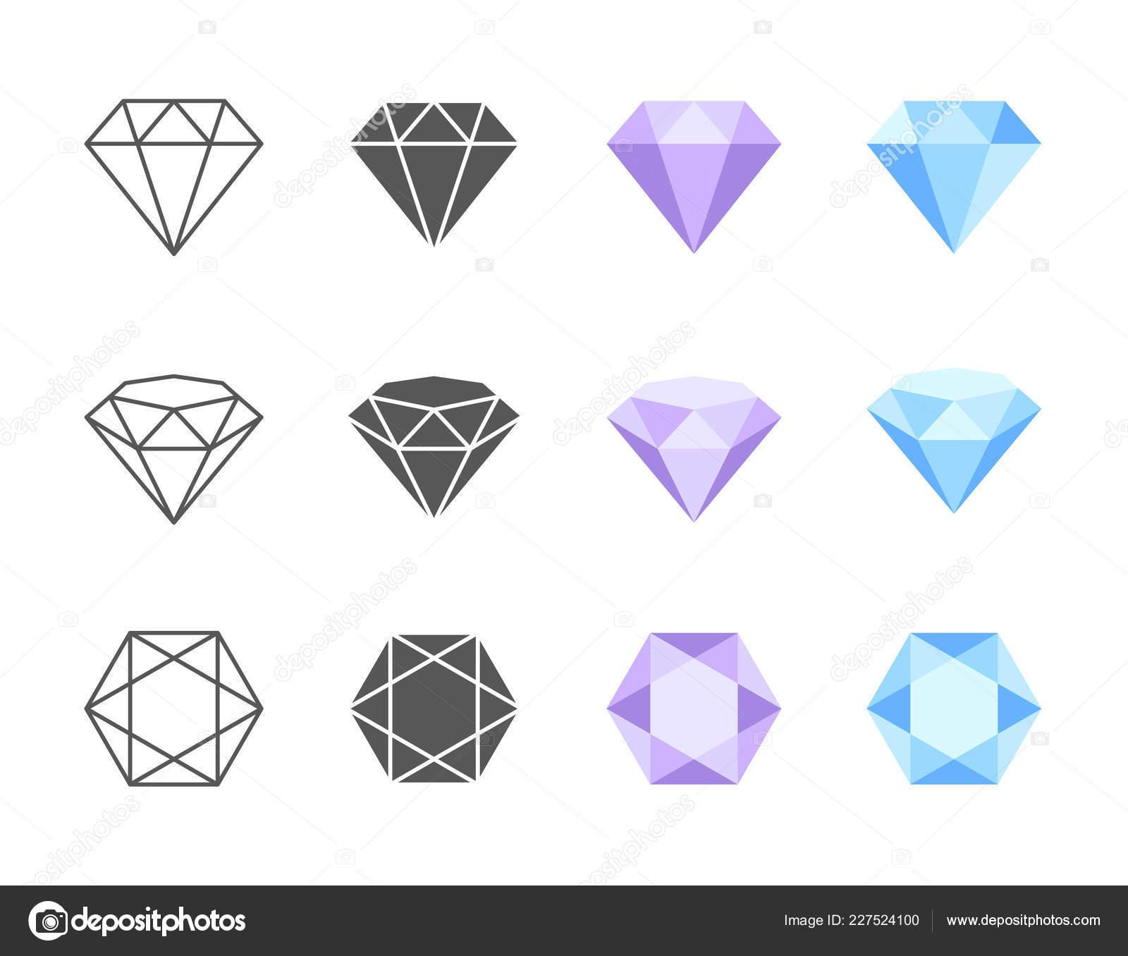 Kolekce Barevnych Cernobilych Vektorovych Ikon Diamantu Strane Tri